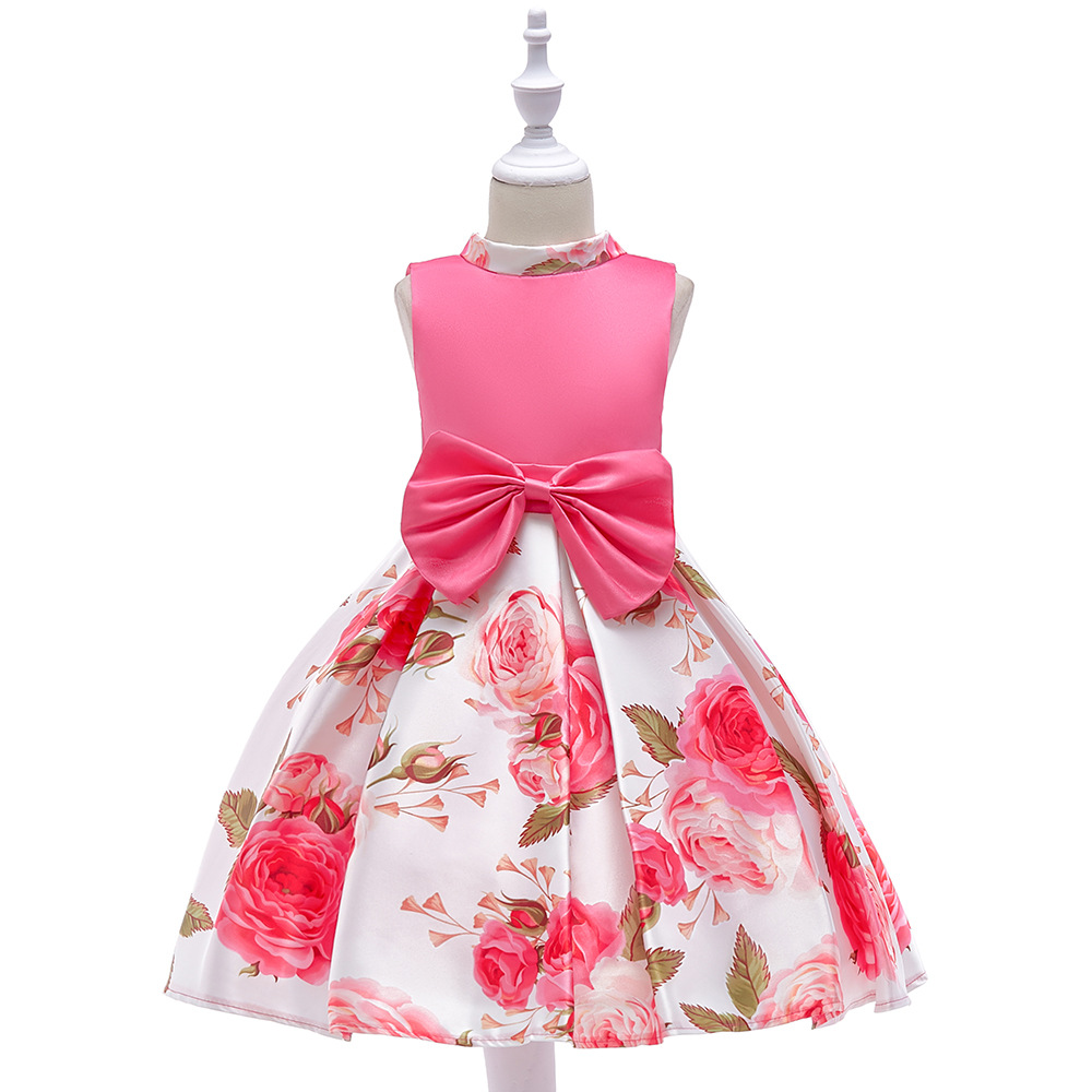 Little Flower Girl Dresses With Print Flower Cap Sleeves Organza Bow