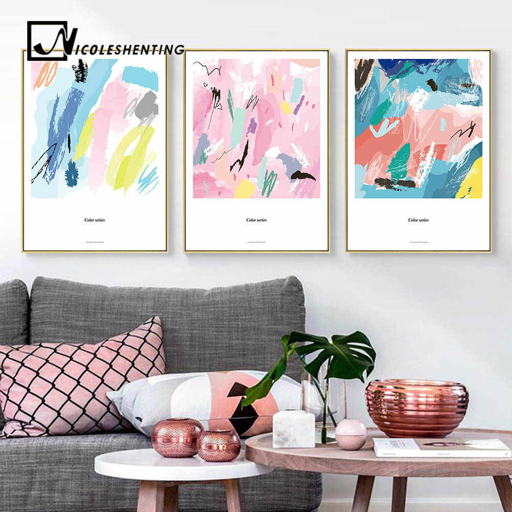Watercolor Color Blocks Art Canvas Posters Abstract Prints Painting Nursery Wall Art Pictures Children Bedroom Decoration