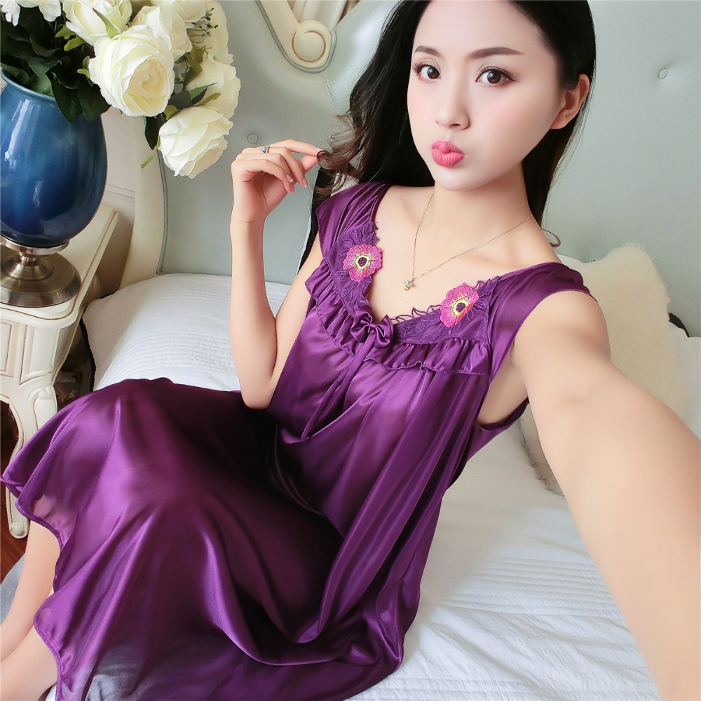Women   nightgowns   2018 Summer   Sleepshirts   Short Sleeve lace Embroidery sexy Bow nightdress girls bathrobe Large size Sleepwear