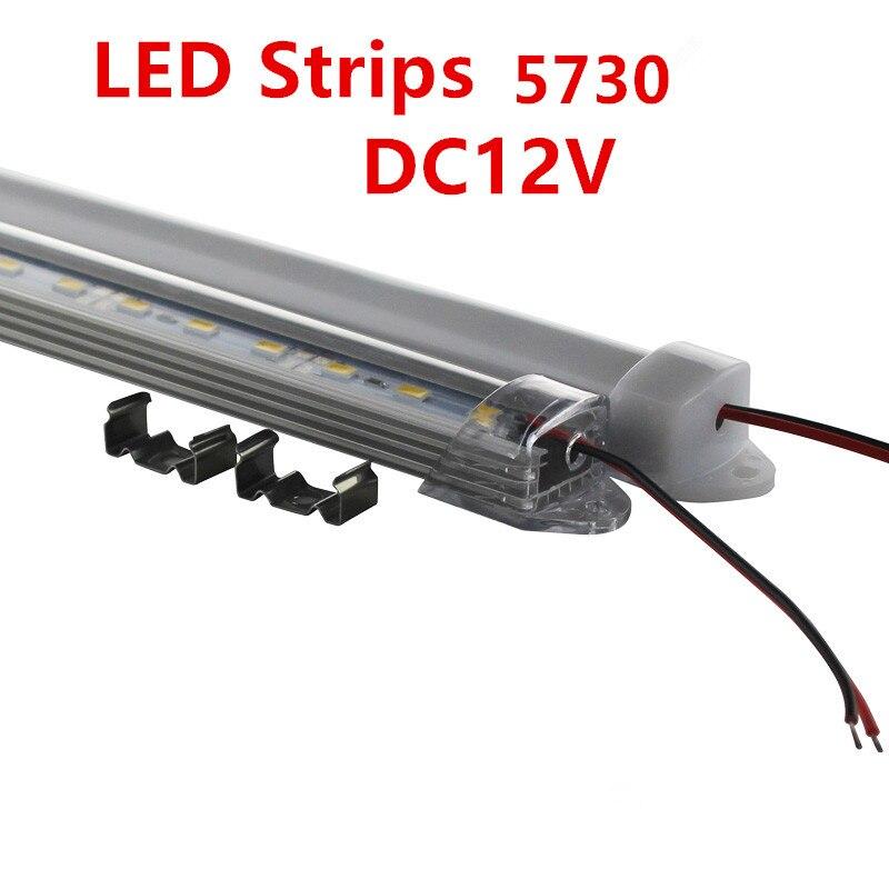 6pcs LED Bar Light  30CM DC12V 21 SMD 5730 LED Hard Rigid LED Strip Bar Light with U Aluminium shell +pc cover