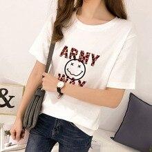 Tee Shirt Femme Women Round Neck Cartoon Letters Print Tshirt Casual Half Sleeve Loose T-Shirt Korean Style Clothing
