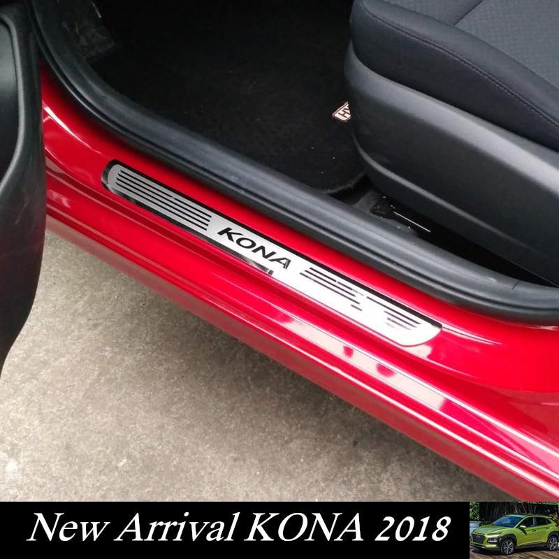 Car Door Sill Scuff Plate For Hyundai KONA/KAUAI 2018-2019 Stainless Steel Door Sill Protector Sticker For New Kona Kauai