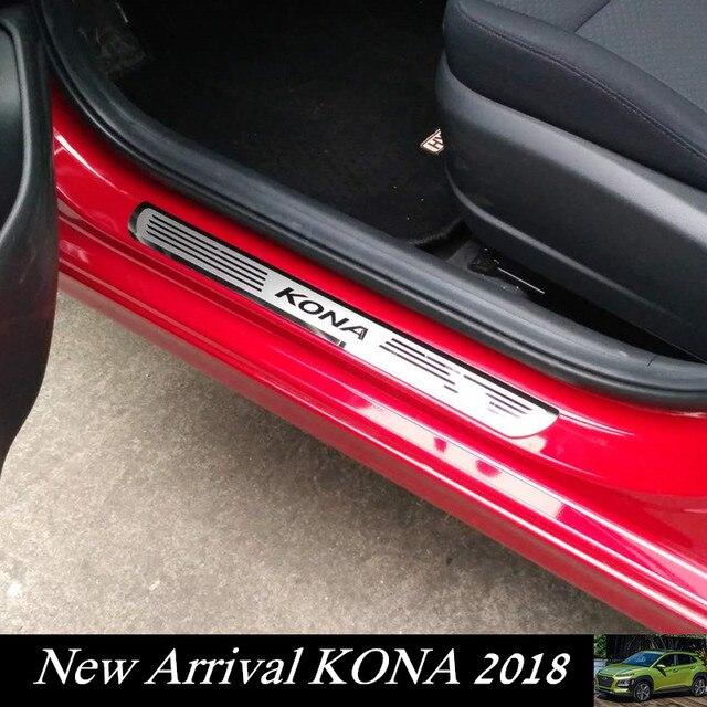 Placa de rejilla de puerta de coche para Hyundai KONA/KAUAI 2018-2019 etiqueta protectora de puerta de acero inoxidable para nuevo Kona Kauai