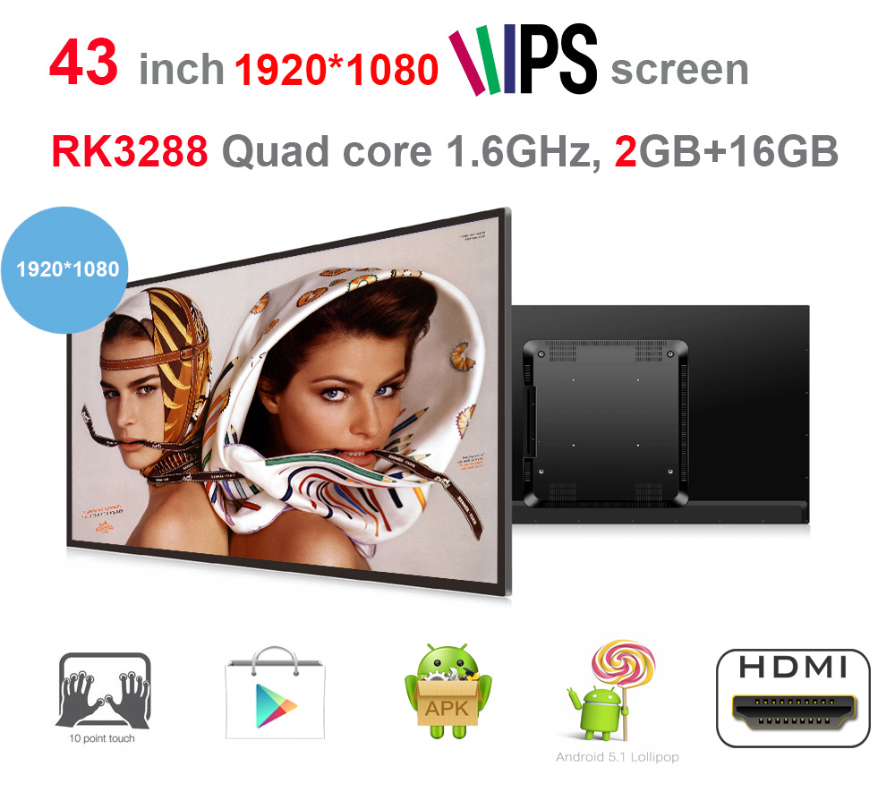43 Inch Android Touch Screen All In One Pc (1920*1080, Rockchip3288 Quad Core,2GB DDR3,16GB Nand, 2M Camera,VESA,Bluetooth)