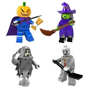 Image 2 - Halloween Mini zabawka rysunek dyniowa głowa duch Moster Fighter bezgłowy jeździec wampir Zombie klocki do budowy