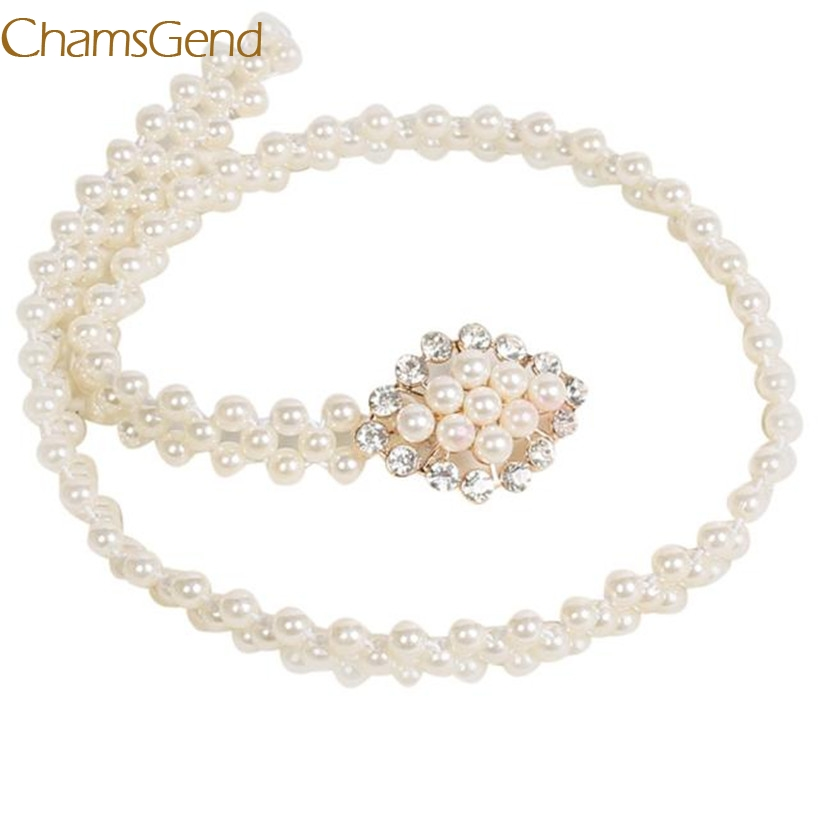 Chamsgend Newly Design Women's Fashoin Elegant Faux Pearl Beads Rhinestone Charms Waist   Belt   Strap 160616 Drop Shipping