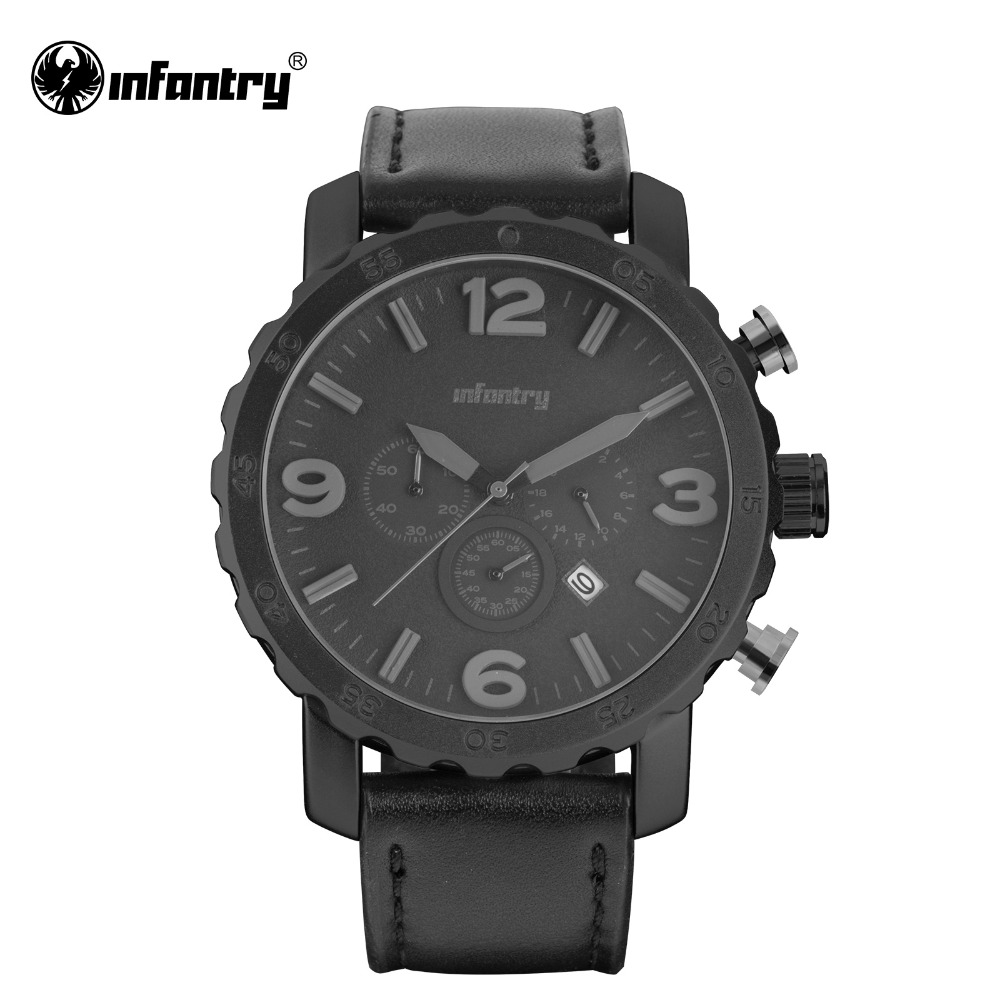 INFANTRY Mens Watches Top Brand Luxury Chronograph Watches for Men Quartz Tactical Black Leather Sport Military Watch Men