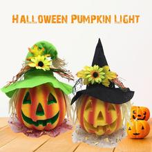 Halloween Light Up Jacko Lantern Decorative Pumpkin Foam Props for Haunted House Decoration