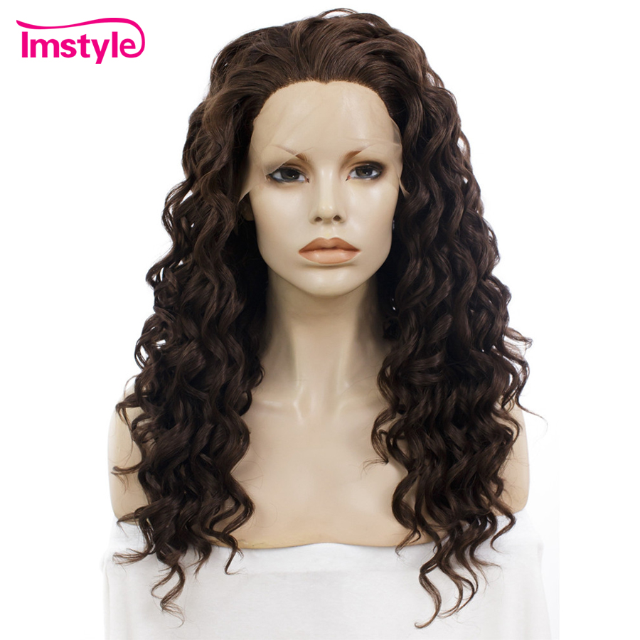 Imstyle Curly Wig Dark Brown Synthetic Lace Front Wig 180% Density Heat Resistant Fiber Natural Hair Wigs For Women 20 Inch