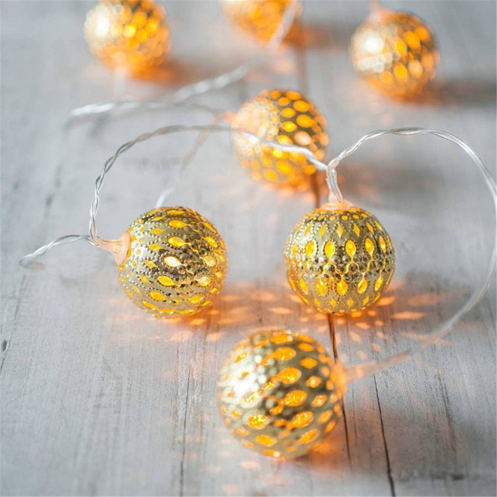3m 20 Beads Rose Gold Metal Hollow Ball Light String Nordic Style Girls Bedroom Decoration Silver Warm Led Lamp Romantic Lights Outdoor Lighting