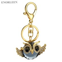 ENORLEEN Brand Luxurious owl gold-color key chain noble elegant beautiful car pendant sweater chains zinc alloy rhinestone