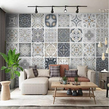 ANNAGOODS Vintage Tile Bohemian Style Ethnic Pattern 3d Wall Paper Wallpaper For