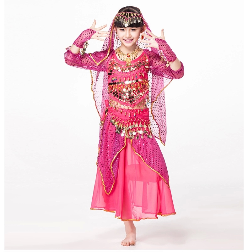 <font><b>Indian</b></font> Dresses <font><b>Sari</b></font> Children Dance Wear 5-piece Set Costume Long Sleeves Coins Belt with Wristbands <font><b>Kids</b></font> Belly Dance Costumes image