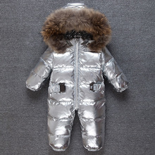 -30 Degrees Baby Jumpsuit Rompers Duck Down Baby Girl Rompers Hooded Children Winter Infant Boy Snowsuit Overalls
