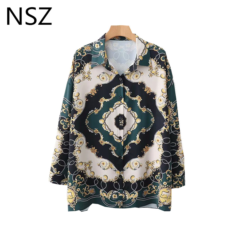 Girls Chain Print Oversize Shirt Lengthy Sleeve Shirt Free Workplace Work Shirt Women Prime Blusas Camisa Mujer Clothes Blouses & Shirts, Low-cost Blouses & Shirts, Girls Chain Print Oversize...