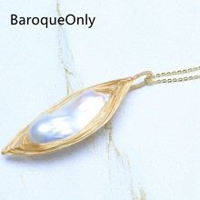 BaroqueOnly Shuttle Shape Handmade Pearl Pendant Special Design Necklace Pendant Super Big Freshwater White Pearl Fine Jewelry(China)