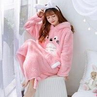 Winter Flannel Night Skirt Women Lingeries Long Sleeve Hooded Sleepshirts Warm Plush Homewear Femme Nightgown Cartoon Sleepwear