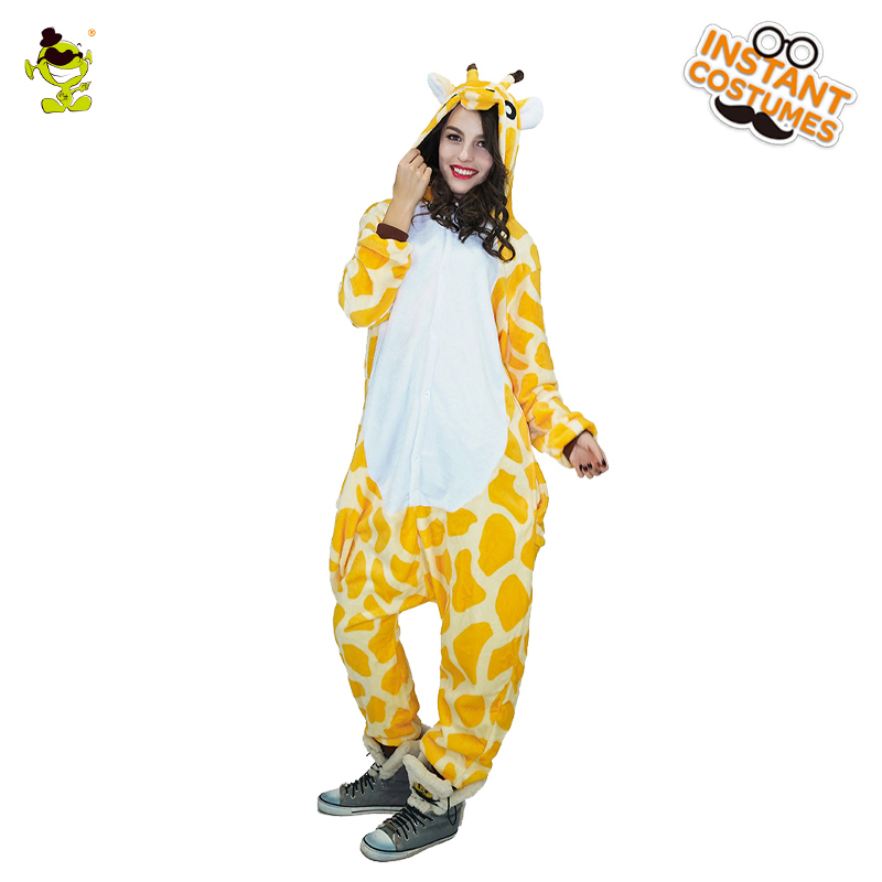 New Design Giraffe Pajamas Woman Cute Pajamas Costumes Carnival Party Adult Hooded Dressup Funny Animal Sleepwear for Women