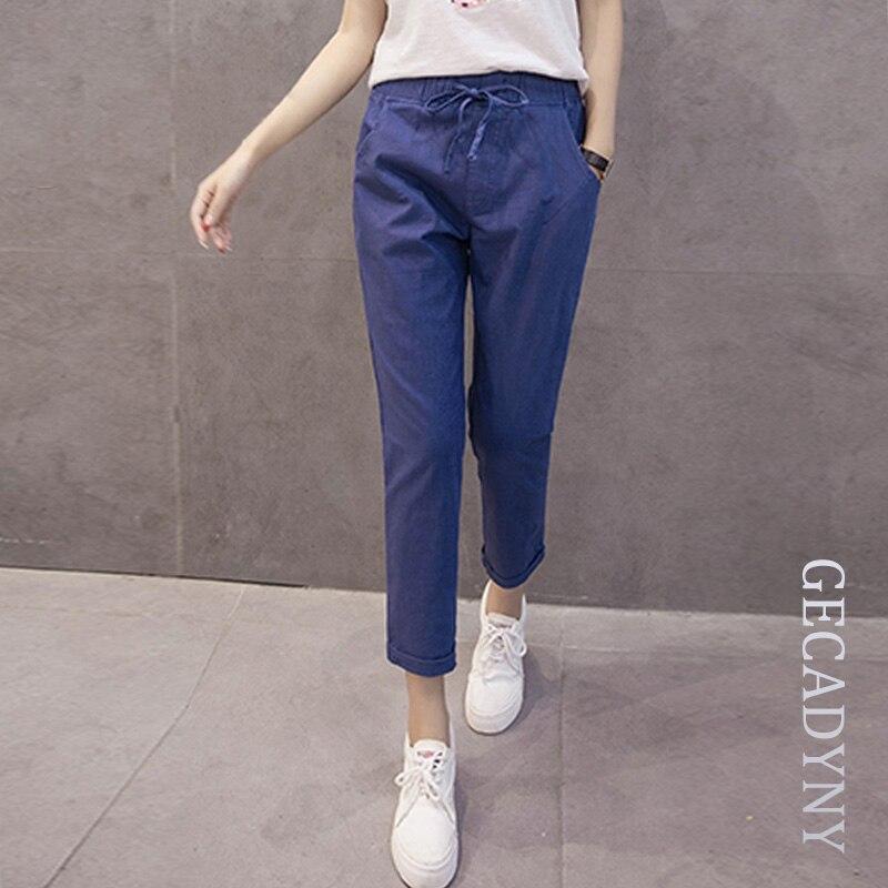 女性の綿リネンパンツ女の子ズボン女性カプリパンツs/m/l/xl/2xl/3xl卸売レディキャンディ色ハーレムパンツカジュアルなズボン