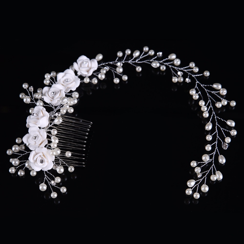 Classic Bride Wedding Hair Hoop Rose-shaped Crystal Charity Party Pearl Feather Artificial Clip Hair Comb FS093