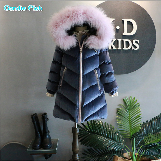 2017 new children are girls all winter long section of western style fur collar hooded down cotton jacket winter new down jacket women 2017 oversized luxury fur collar thicker coat in the long section of 20 30 40 years old