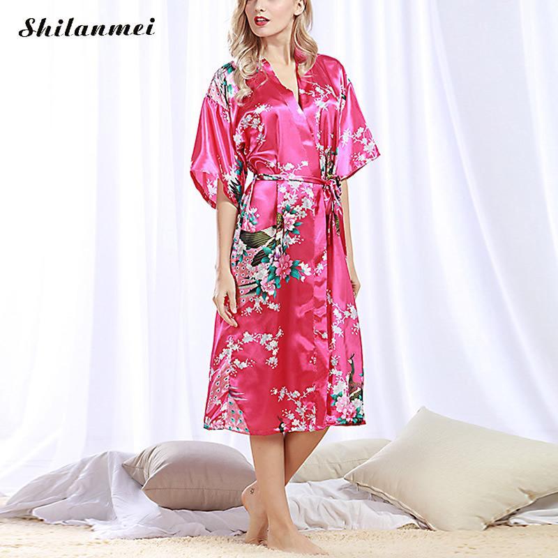 2017 Silk Kimono Robe Bathrobe Women Satin Robe Robe Longue Femme For Women Night Sexy Robes Night Grow For Bridesmaid Summer