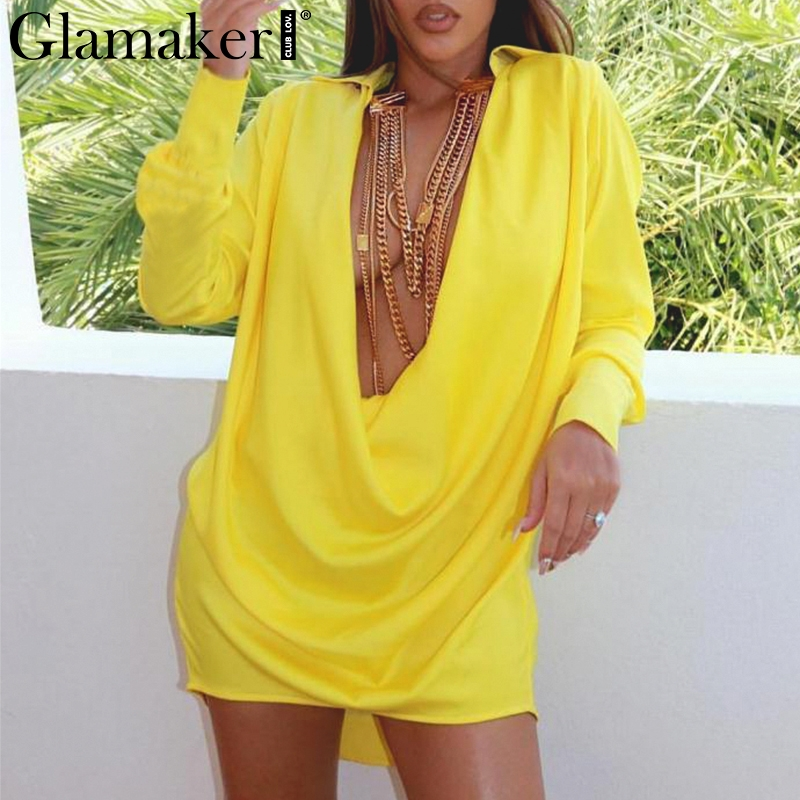 Glamaker solid long sleeve deep v-neck   blouse     shirt   Women black sexy summer   blouse   dress Female   blouse   elegant office top ladies
