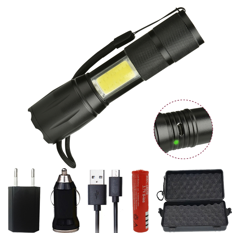 Z20 103C linterna LED XML-T6 COB 4 modos de 5000LM antorcha impermeable luz Puerto Micro USB linterna Zoomable para acampar