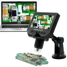 600x 3.6MP USB Digital Microscope with Aluminum Alloy Stand 4.3 Inches HD LCD Video Microscope Display for PCB Repair