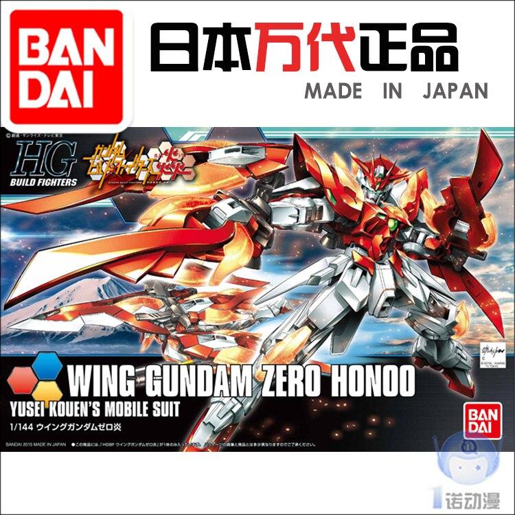 Gundam Build Fighter Bandai HGBF 033 1/144 Wing Gundam Zero Honoo Gundam Action Figuremodel Building Toys Kids