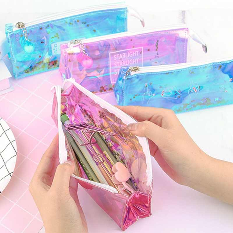 1Pc Transparent Cool Pencil Case Fashion Shiny Laser PVC Pencils Bags High Quality Stationery Pouch Office School Supplies