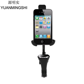 New Car Holder With Handsfree FM Transmitter USB Charger For Smart Phones+FM Transmitter Phone Holders With Car Kit Charger