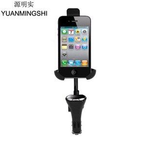 YUANMINGSHI-support de transmetteur FM | Avec chargeur USB mains libres pour téléphones intelligents + porte-émetteur FM, chargeur de voiture pour téléphone