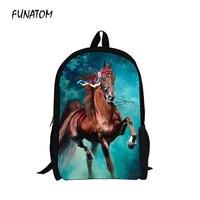 Men's 3D Animal Prints Horse Boy Backpacks Teenagers Trendy Black Bagpack Males Cool Tourism Package for Travel Mochila