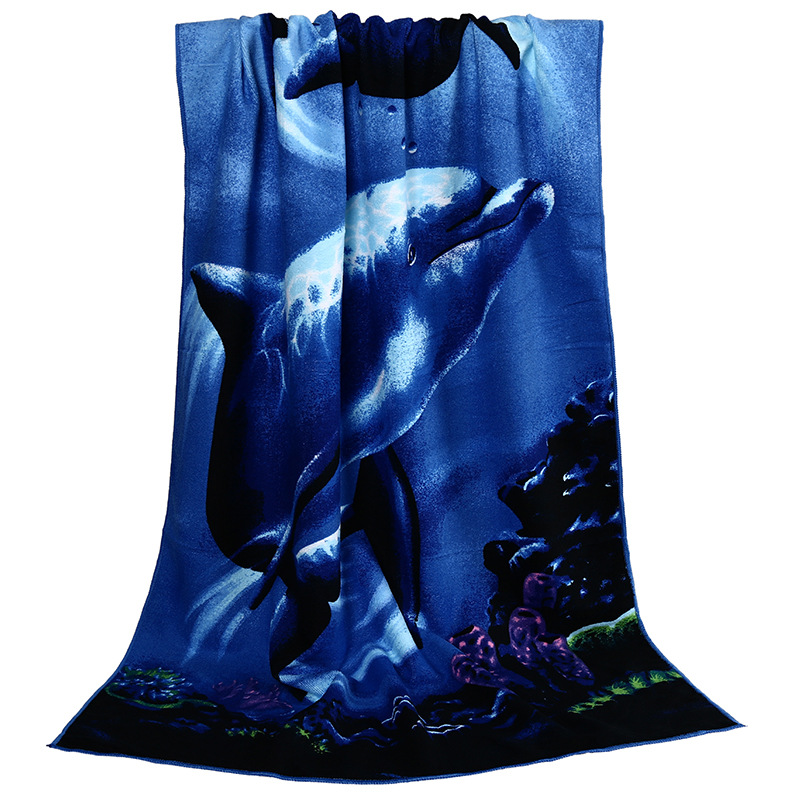Dolphin print Sweat Fine microfiber Towel Bath Towel Spa Party Sports Beach Swimming Bath Towels For Adults 150*70cm Toallas