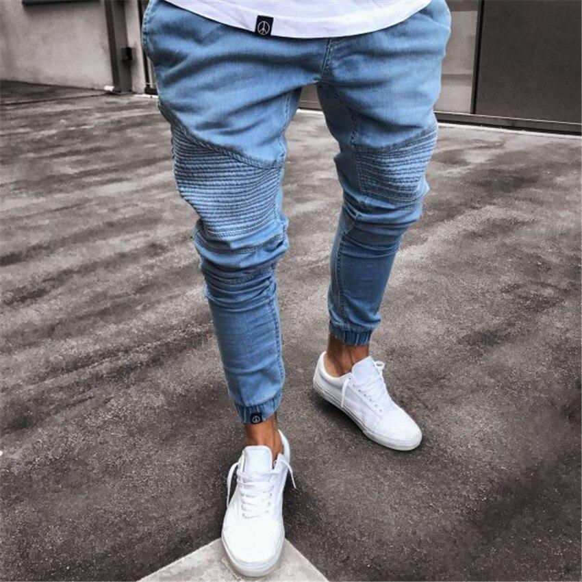 2018 Men Stylish Pleated Jeans Pants Biker Skinny Slim Straight Frayed Denim Trousers New Fashion Skinny Elastic Zipper Jeans