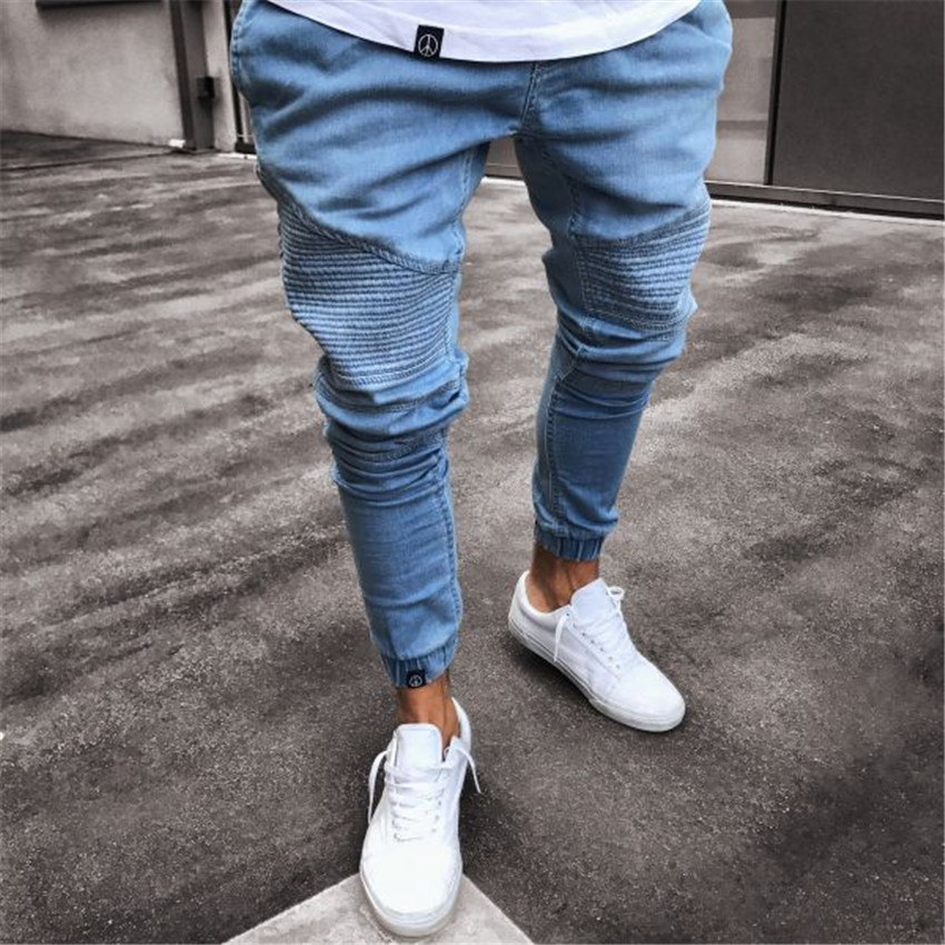 2018 Men Stylish Pleated   Jeans   Pants Biker Skinny Slim Straight Frayed Denim Trousers New Fashion skinny Elastic zipper   jeans