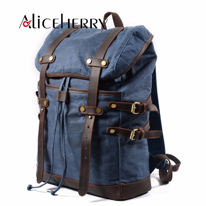Large capacity 15.6-17 inch Canvas Laptop Backpack Unisex Vintage Leather Casual School College Business Bags Travel DaypackLarge capacity 15.6-17 inch Canvas Laptop Backpack Unisex Vintage Leather Casual School College Business Bags Travel Daypack