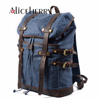 Large capacity 15.6 17 inch Canvas Laptop Backpack Unisex Vintage Leather Casual School College Business Bags Travel Daypack