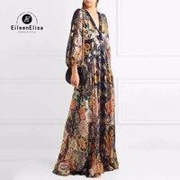 Ladies Silk Long Dresses Elegant 2018 Spring Women V neck Dresses Empire Floor Lenght Dresses Luxury