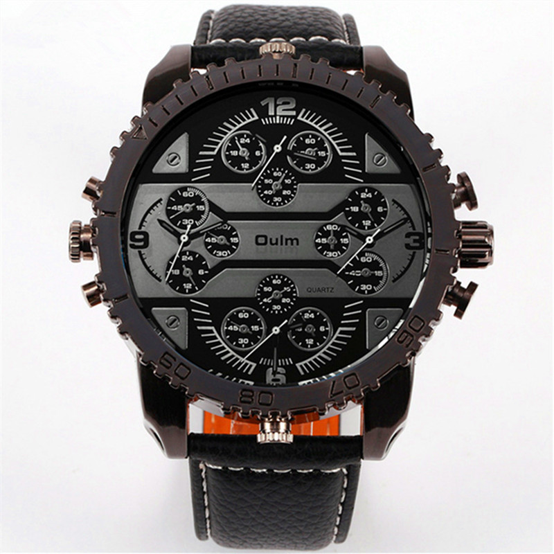 Hot Sale 2018 Famous Brand OULM Original Fashion Design Mens Leather Casual Quartz Watch Big Face 4 Time Zone Quartz Watches
