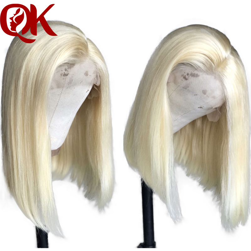 QueenKing hair Lace Front Human Hair Wigs For Black Women Straight 180 Platinum Blonde 613 Bob