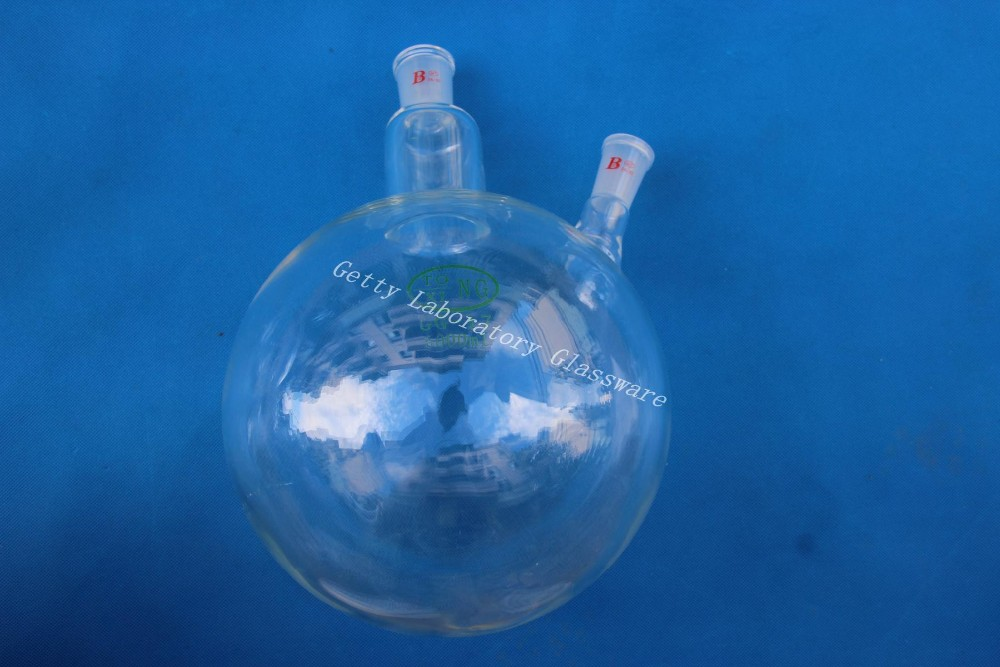 5L (5000 ml) 2-cou (deux-cou) à fond rond ébullition flacon, à paroi épaisse, 24/40 joint