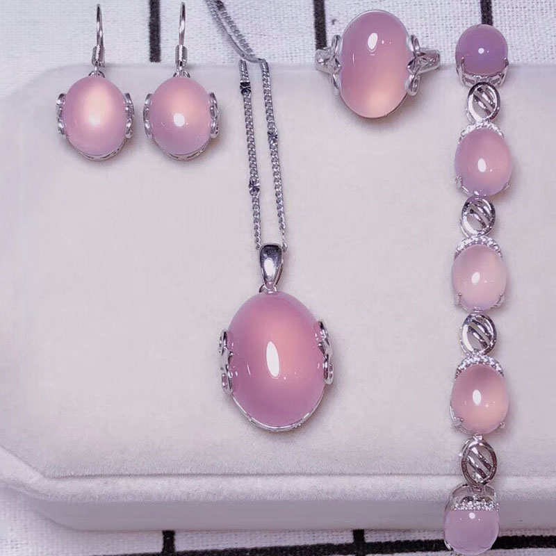 yu xin yuan Fine Jewelry Natural 925 Silver Jade Medullary Ring Pendant Earrings Bracelet Jewelry Sets Women party Jewelry Compl цена