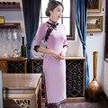 Nueva llegada de las mujeres cortas delgadas cheongsam dress ladies chino qipao de la novedad flor sexy dress plus tamaño ml xl xxl xxxl g111417
