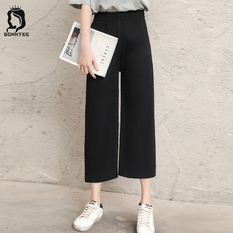 Oversize Women Solid Pleated   Wide     Leg     Pants   Female Breathable High Waist   Pant   Womens New Fashion Student Chic Females Stretchy