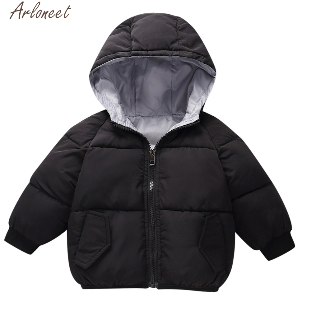 Kids Baby Winter High Coat Cloak Jacket Thick Warm Hoodie Outerwear Windproof