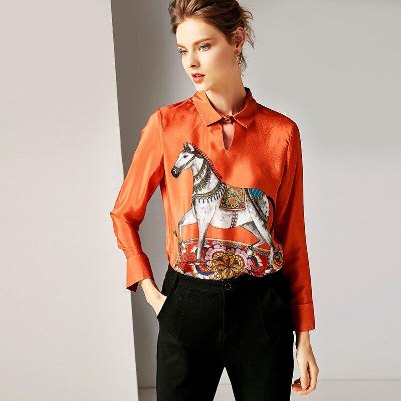 Manches Nouvelle As Femmes En Mode À Chemisier Picture Rétro Imprimer Revers De 100 Soie R10088 Printemps Vêtements Longues 8dgwaqg