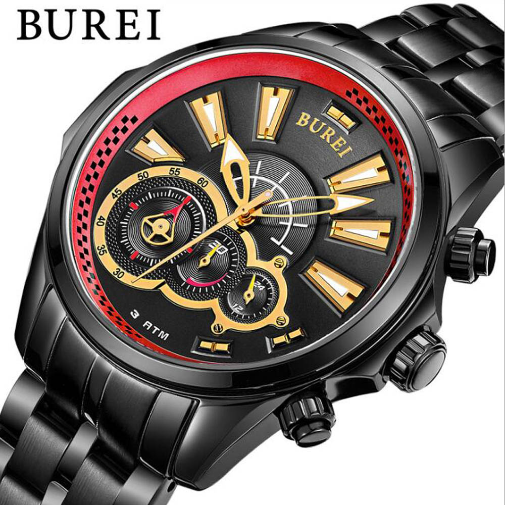 BUREI Men's quartz-watch Stainless Steel Band gold Watches Men Watches Multi-function Sports Wristwatches relogio masculino 2017 fashion men s casual quartz watch stainless steel mesh band gold watch slim men watches multi function sports watches relogio