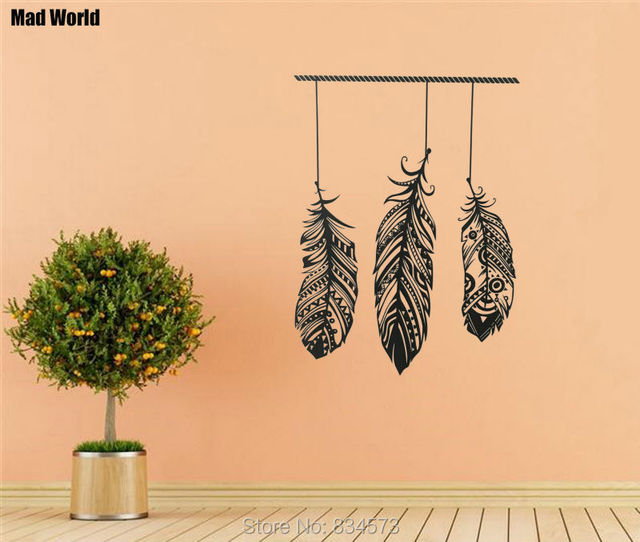 Mad World Feather Tribal Boho Bohemian Wall Art Stickers Wall Decal Home  DIY Decoration Removable